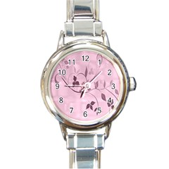 Floral Purple Round Italian Charm Watch