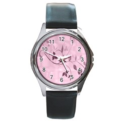 Floral Purple Round Leather Watch (Silver Rim)