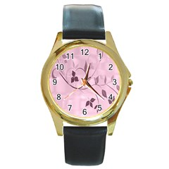 Floral Purple Round Leather Watch (Gold Rim)