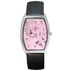 Floral Purple Tonneau Leather Watch