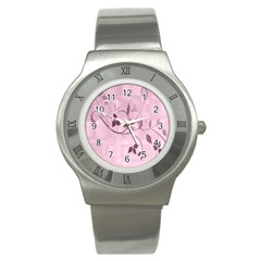 Floral Purple Stainless Steel Watch (Slim)