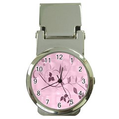 Floral Purple Money Clip with Watch