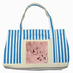Floral Purple Blue Striped Tote Bag
