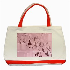 Floral Purple Classic Tote Bag (Red)