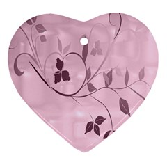 Floral Purple Heart Ornament (Two Sides)