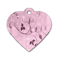 Floral Purple Dog Tag Heart (two Sided)