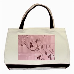 Floral Purple Twin-sided Black Tote Bag