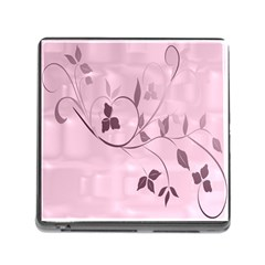 Floral Purple Memory Card Reader with Storage (Square)