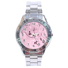 Floral Purple Stainless Steel Watch