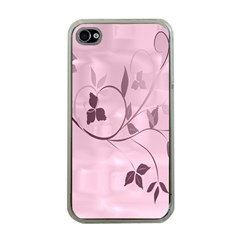 Floral Purple Apple iPhone 4 Case (Clear)