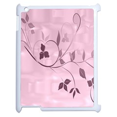 Floral Purple Apple iPad 2 Case (White)
