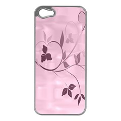 Floral Purple Apple iPhone 5 Case (Silver)