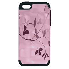 Floral Purple Apple Iphone 5 Hardshell Case (pc+silicone)