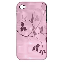 Floral Purple Apple iPhone 4/4S Hardshell Case (PC+Silicone)
