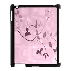 Floral Purple Apple iPad 3/4 Case (Black)