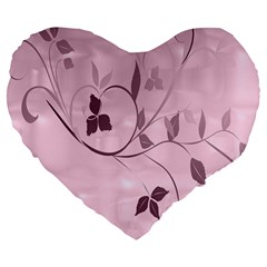 Floral Purple 19  Premium Heart Shape Cushion