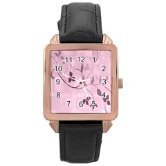 Floral Purple Rose Gold Leather Watch