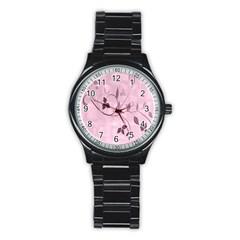 Floral Purple Sport Metal Watch (Black)