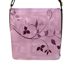 Floral Purple Flap Closure Messenger Bag (Large)