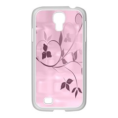 Floral Purple Samsung GALAXY S4 I9500/ I9505 Case (White)