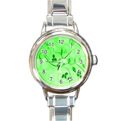 Floral Green Round Italian Charm Watch