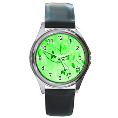 Floral Green Round Leather Watch (silver Rim)
