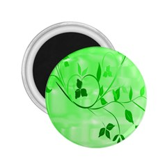 Floral Green 2.25  Button Magnet