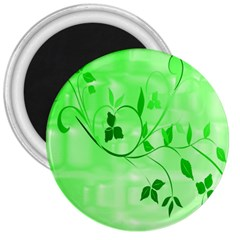 Floral Green 3  Button Magnet
