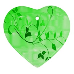 Floral Green Heart Ornament