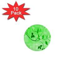 Floral Green 1  Mini Button (10 pack)