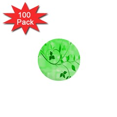 Floral Green 1  Mini Button (100 pack)