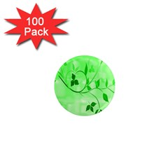 Floral Green 1  Mini Button Magnet (100 pack)