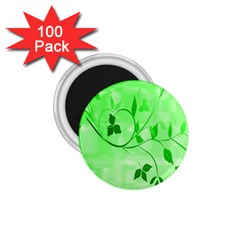 Floral Green 1 75  Button Magnet (100 Pack)