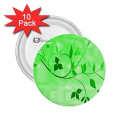 Floral Green 2.25  Button (10 pack)