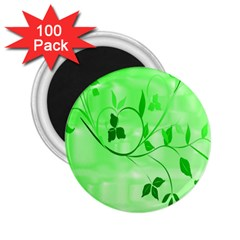 Floral Green 2.25  Button Magnet (100 pack)