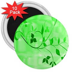 Floral Green 3  Button Magnet (10 pack)