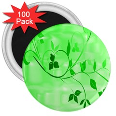 Floral Green 3  Button Magnet (100 pack)