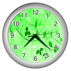 Floral Green Wall Clock (Silver)