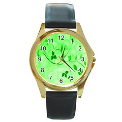 Floral Green Round Leather Watch (Gold Rim)