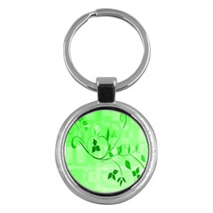 Floral Green Key Chain (Round)