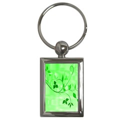 Floral Green Key Chain (rectangle)