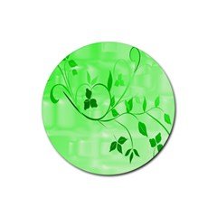 Floral Green Drink Coasters 4 Pack (round)