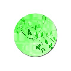 Floral Green Magnet 3  (Round)