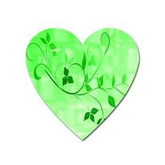 Floral Green Magnet (Heart)