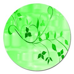 Floral Green Magnet 5  (round)
