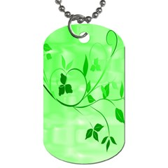 Floral Green Dog Tag (Two-sided)