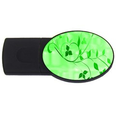 Floral Green 1GB USB Flash Drive (Oval)
