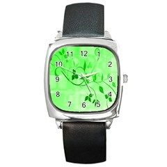 Floral Green Square Leather Watch