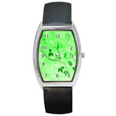 Floral Green Tonneau Leather Watch