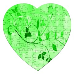 Floral Green Jigsaw Puzzle (Heart)